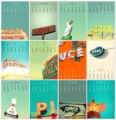 2013 Calendar, desk calendar, back to school, vintage neon sign, motel sign, retro modern, mid century, typography, hipster, nostalgia - 5x7. $22.00, via Etsy.