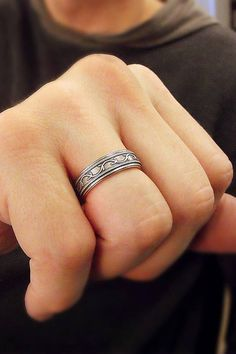 This Sterling Silver Wedding Band Measures 1 4 Wide 6mm And Features A Wavy Vine Pattern Made To Match The In My Petunia Bands
