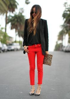 Image result for denim outfits for red trousers
