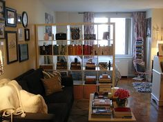 Studio apartment - oversized bookshelf as room divide which still lets window light in