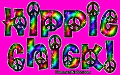 Hippie Chick Rainbow Peace Sign Glitter Text MySpace Glitter Graphic Comment