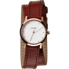 Nixon Kenzi Wrap Watch ($75) ❤ liked on Polyvore featuring jewelry, watches, nixon watches, leather band watches, stainless steel watches, buckle watches and wrap watches