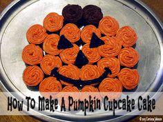 How To Make A Pumpkin Cupcake Cake #halloween #recipes #treats #cupcakes #cake