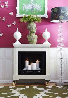 Faux fireplace - love the wheels. May make one of these...  Lots of great paint color choices, too.