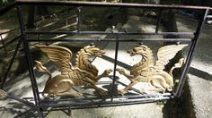 Griffin gate in Greece. The griffin, griffon, or gryphon is a legendary creature with the body of a lion and the head and wings of an eagle. As the lion was traditionally considered the king of the beasts and the eagle was the king of the birds, the griffin was thought to be an especially powerful and majestic creature. Eagle Wings, Entrance Ways, Legendary Creature, Arches, Eagles, Gate, Beast, Greece, Lion Sculpture