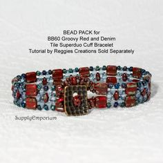 BB60 Groovy Red and Denim BEAD PACK for CzechMates Tile and Superduo Cuff by ReggiesCreations, Tutorial Sold Separately