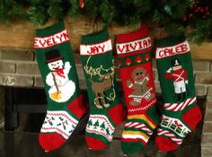 These knitted Christmas Stockings are certain to turn into a cherished memento for your loved ones. These Knit Christmas Stockings are very detailed. Knitted Christmas Stocking Patterns, Unique Christmas Stockings, Knit Stockings, Christmas Crafts, Christmas Ideas, Crochet Christmas, Christmas 2017, Winter Christmas, Christmas Decorations