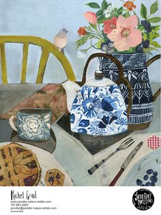Illustration by Rachel Grant Art And Illustration, Painting Still Life, Still Life Art, Rachel Grant, Art Grants, Beautiful Collage, Arte Floral, New Artists, Collage Artists