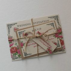 Vintage postcard invitations with RSVP cards