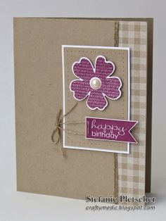 The Crafty Medic: Flower Shop Options - Stampin' Up! Gingham wheel, Flower Shop, and Banner Greetings stamp sets.