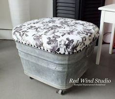 wash tub ottoman, painted furniture, repurposing upcycling, reupholster