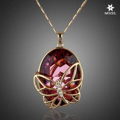 MOZEL Attractive Gold Plated Red Swarovski Crystal Butterfly Pendant Necklaces #MOZEL #Pendant