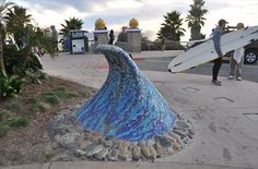 This mosaic resides in Sea Cliff Park, high above Swamis Surfing Beach, at about 1240 S Coast Highway in Encinitas, California.