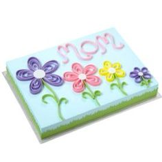 Quilling Flower Sheet Cake for Mom - Surprise mom with a cake that tops all others! Intricate floral quilling design is easily created step-by-step using ready-to-use Rolled Fondant tinted in pretty colors. Wilton Cakes, Fondant Cakes, Cupcake Cakes, Buttercream Cake, Frosting, Birthday Cake For Mom, Birthday Sheet Cakes, Diy Birthday, Decorating Supplies