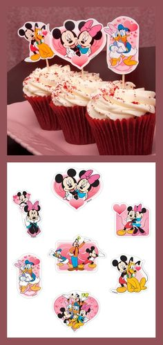 Friends Valentines Day, Disney Valentines, Disney Mickey, Mickey Mouse, Mikey, Fab Five, Valentine Day Cupcakes, Disney Printables, Cupcake Wrappers