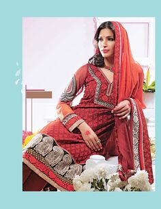 $73.98 Red Full Sleeve Cotton Long Churidar Suit 21205