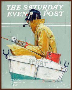 "Norman Rockwell, Man in a Fishing Boat, (SPORT) Americana, 14""x11"" art Print"