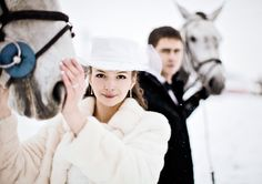 Winter wedding with horses