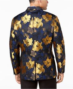 Men's Slim-Fit Floral Jacquard Blazer, Created for Macy's - Yellow XXL Mens Sport Coat, Sport Coats, Blazers For Men, Slim Man, Shirt Dress, Yellow, Floral, Mens Tops, Shirts