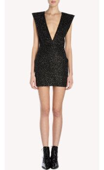 Saint Laurent Beaded Gabardine Sleeveless Mini Dress