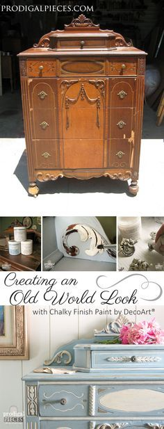 Diamond in the Rough Thrifted Dresser is damaged and missing parts, but with a little TLC, it now showcases an Old World Look by Prodigal Pieces www.prodigalpieces.com #prodigalpieces