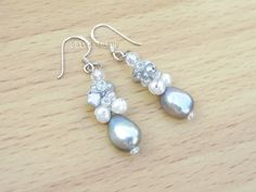 Silver gray white freshwater pearl earrings on by CuteActually