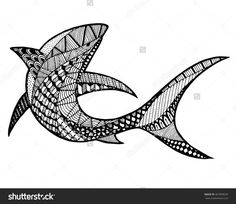 Zentangle Stylized Abstract Shark In The OceanDoodle Zenart Illustration On White BackgroundColoring Page Anti Stress For Adult And Children