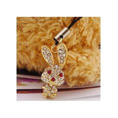 Small jewelry diamond big ear rabbit mobile phone chain mobile phone pendant red eye