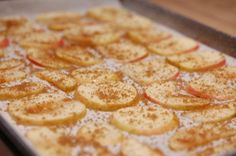 Sweet Apple Chips  Ingredients:  2 Small Apples (cut into thin slices as shown above)  2 Tbsp. Brown Sugar  1 tsp. Cinnamon  Directions:  Preheat your oven to 350 F and place apple slices on a baking sheet lined with parchment paper. Roast for 10-15 minutes, or until the edges start to curl and brown a little bit. Set out to cool, and enjoy!