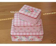 Greengate Set 3 Tins Storage Klara Pink Vintage Floral Polka Dot