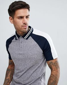 1843e43a DESIGN polo shirt in interest fabric with contrast split sleeve in gray