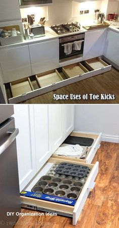 not let the space of toe kicks go wasted, it can be used to build drawers for baking supplies storage.Do not let the space of toe kicks go wasted, it can be used to build drawers for baking supplies storage. Diy Kitchen Storage, Diy Kitchen Cabinets, Kitchen Drawers, Kitchen Cabinet Design, Kitchen Redo, Kitchen Tips, Kitchen Pegboard, Kitchen Counters, Teal Kitchen