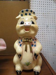 Vintage mid century modern large ceramic piggy bank - $45
