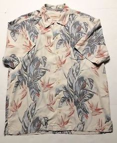 9ce2e668 Tommy Bahama Silk Hawaiian Birds Of Paradise Floral White Camp Shirt Mens  Large | eBay