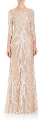 David Meister Three-Quarter Sleeve Embroidered Sequin Gown #Affiliate