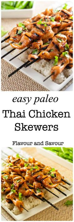These easy Paleo Thai Chicken Skewers are sweet, spicy and succulent. You can use skinless, boneless chicken breasts, chicken tenders, or chicken thighs in this recipe. They all work beautifully, resulting in flavourful kabobs, fresh from the grill.  via @enessman