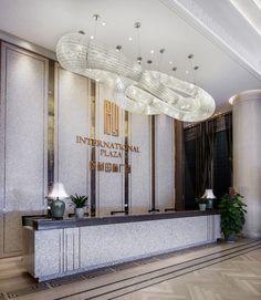 The reception hall 接待大堂 Lobby Reception, Reception Counter, Reception Areas, Receptionist Design, Hall Tiles, Hotel Lobby Design, Western Restaurant, Luxury Chandelier, Counter Design