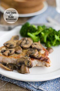 Pork Chops with Dijon Mushrooms   www.tasteandtellblog.com