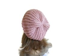 Slouchy Beanie Light Pink Womens Beret Hat unique by likeknitting