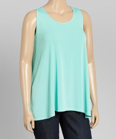 Another great find on #zulily! Mint Scoop Neck Tank - Plus by Boom Boom #zulilyfinds