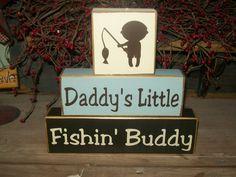 New Boys Daddy's Little Fishing Buddy Primitive Wood Sign Blocks Nursery Decor Kids Room Shower Gift. $19.99, via Etsy.