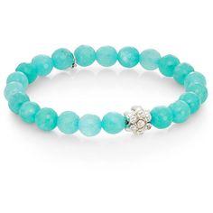 Anzie Boheme Aqua Jade & Sterling Silver Bracelet ($135) ❤ liked on Polyvore featuring jewelry, bracelets, blue, sterling silver bead charms, bead charms, sterling silver jewelry, boho jewelry and aqua charms