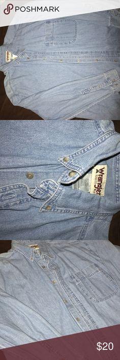Long sleeve jean Jean button up Wrangler Shirts Casual Button Down Shirts