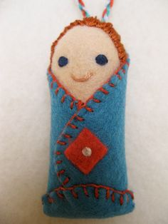 Redhead Blanket Baby Miniature Doll Ornament by AntheaArt on Etsy