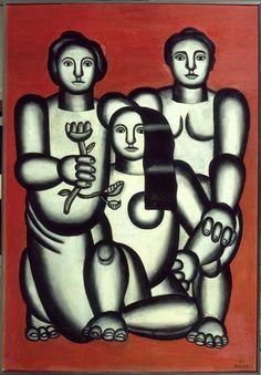Three girls on red background (composition with three women) - Fernand Leger