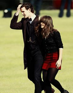 Matt Smith and Jenna-Louise Coleman on the set of the Doctor Who Christmas Special (10th September 2013)