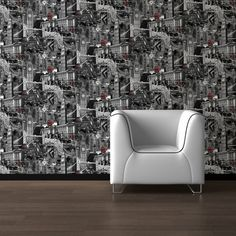 Muriva Wallcoverings London Black and White 102501 - Sample available - Flooring, painting and decorating
