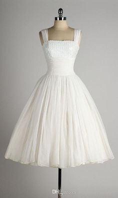 Buy Dresses Online 1950 Style Wedding Dresses A Line Square Neck Sleeveless Tea Lenght White Chiffon Vintage 1950s Dress Iridescent Sequin Bust Custom Made Lace A Line Wedding Dress From Beautiful_wedding, $131.8| http://Dhgate.Com