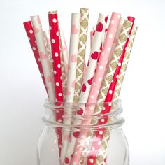 Valentine's Day Straws in Pink, Red and Gold