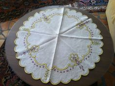 Beautiful Antique Arts & Crafts Embroidered Linen Table Topper in Yellow/Red | eBay